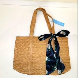 NWT Draper James everyday straw bag with scarf